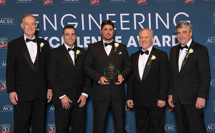Milone & MacBroom accepts the 2018 ACEC EEA Honor Award for the Meriden Green project